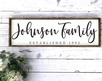 Last Name Sign. Last Name Sign. Wood Family Sign. Wedding Gift. Established sign.  Wood Framed Sign. Farmhouse Sign.