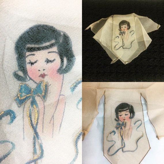 Vintage 1930s Women's Hand Painted Chiffon Pocket Scarf