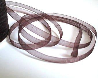 10 m Brown 6mm organza Ribbon