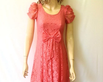 Coral Red Lace Bridesmaid Dress. Dress With Sleeves.