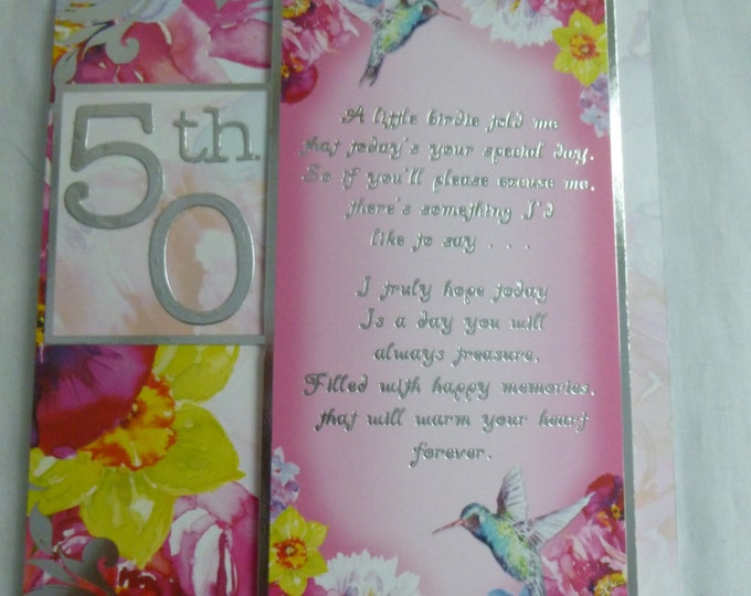 50th Birthday Card, Anniversary Card, Greeting Card, Floral and Silver, Humming Bird, Female, Mum, Sister, Aunt, Friend
