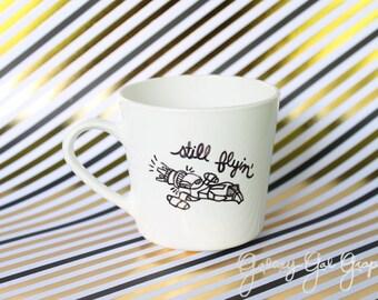 """Firefly """"Still flyin"""" Serenity ship in black ink, small cup, mug"""