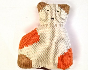Calico Cat Plushie Doll. Wool handknit stuffed toy animal. Cute and cuddly for all ages. Retro stuffed animal with a modern, graphic touch.