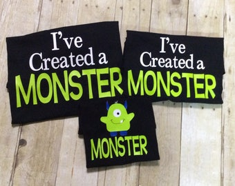Father, Mother, and Child Shirt Set, Dad and Mom and Child Monster Shirt Set, 2 Adult and 1 Child Monster Shirt Set