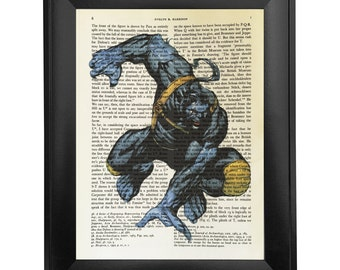 Beast, printed on Vintage Paper - 8x10.5 - dictionary art print