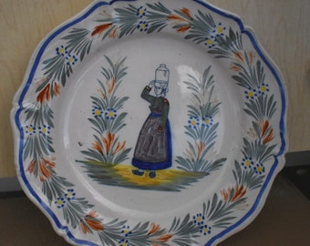 Antique Henriot Quimper Dinner Plate with a Peasant Lady Carrying a Jug On Her Head, Nice Detailing, #18274
