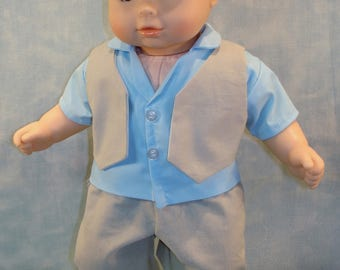 15 Inch Doll Clothes - Boys Easter Blue Shirt Khaki Vest and Pants handmade by Jane Ellen