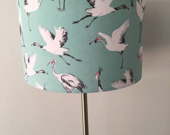 Japanese Crane Fabric Drum Lampshade
