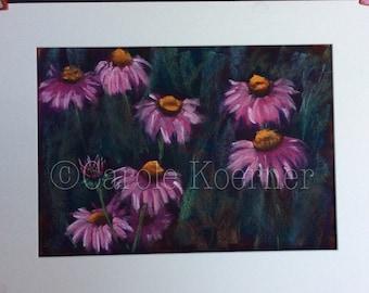 Pink daisies pastel painting