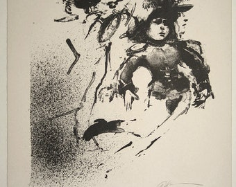 Ruth Gikow Original Pencil Signed New York Stone Lithograph The Parade  c. 1960 Unmatted, Unframed