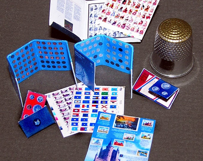 Stamp and coin collection, Paperminis, Bastelkit of paper in miniature for the doll's Room, Dollhouse Miniatures # 40052