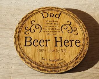 Personalised Solid Oak Beer Inspired Coasters - Engraved Gift Present