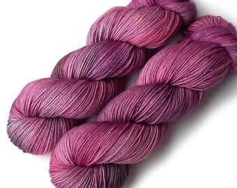 Hand dyed Yarn Boston Bouncy Sport Superfine Merino Silk Handdyed Yarn Silver Rose