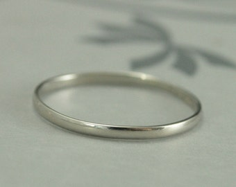 White Gold Wedding Band~1.5mm by .75mm Skinny Minnie~10K Gold Ring~Half Round Band~Women's Wedding Band~Wedding Ring~Recycled Gold Ring