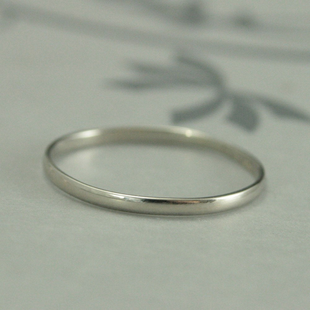 White Gold Wedding Band15mm by 75mm Skinny Minnie10K Gold