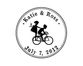 Wedding kids on bike custom rubber stamp bicycle
