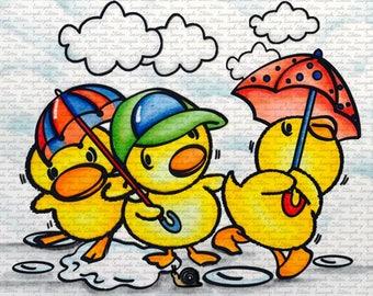 Ducklings In The Rain  Digital Stamp by Sasayaki Glitter