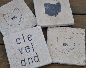 Cleveland Ohio Natural Stone Coasters. Set of 4. Ohio State, Local Love