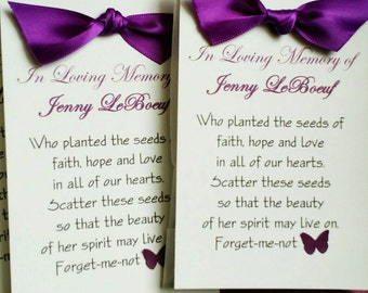 Memorial Seed Packet Favor - Forget - Me- Not Seeds