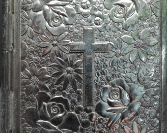 Metallic Box with Flowers and Cross