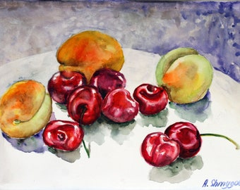 Original watercolor painting fruits still life Sweet cherry and apricot, colorful kitchen wall art wall decor artwork housewarming gift idea