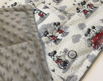 Mickey in paris with minky backing weighted blanket 35X40 & 40X60 Autism ADHD sleep