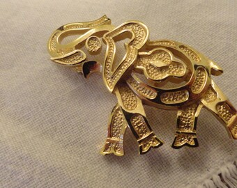 Trifari Elephant Brooch Pin Lucky Up trunk vintage