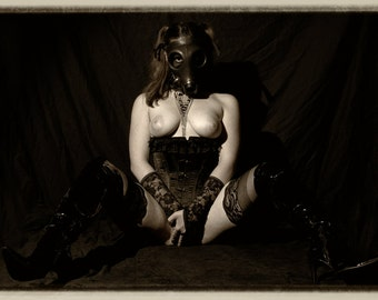 Fetish nude art gas mask sepia photography ART fine Wall Art home Decor - Wanted - 13