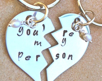 You're My Person, Grey's Anatomy Style Keychain, His and Hers Keychain, Husband And Wife Gift, Natashaaloha