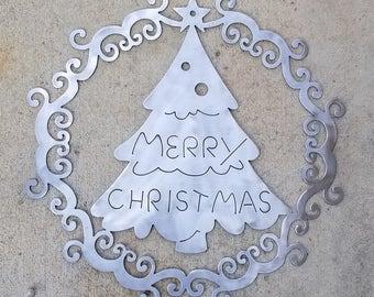 Plasma Cut Metal Christmas Tree Wall or Door Wreath Made to Order in Raw Steel or Painted