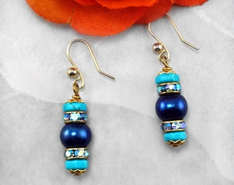 Blue Pearl, Turquoise and Rhinestone December Birthstone Earrings