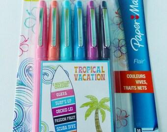 6 stylos feutres paper mate flair 6 nouvelles couleurs tropical tropique vacances pointe moyenne  coloriage écriture tropique tropicale