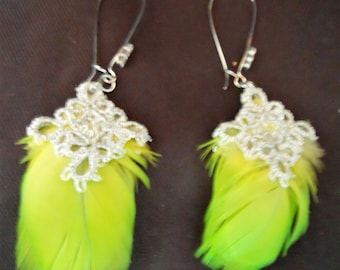 Apple Green Parrot Feather Earrings With Silver Tatting