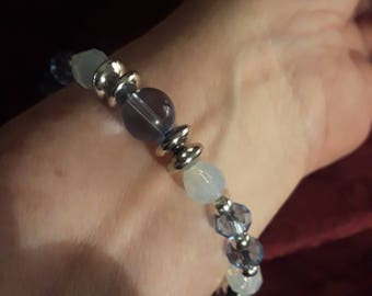 PRICE REDUCED! Beaded Stretch Bracelet in Translucent Blues
