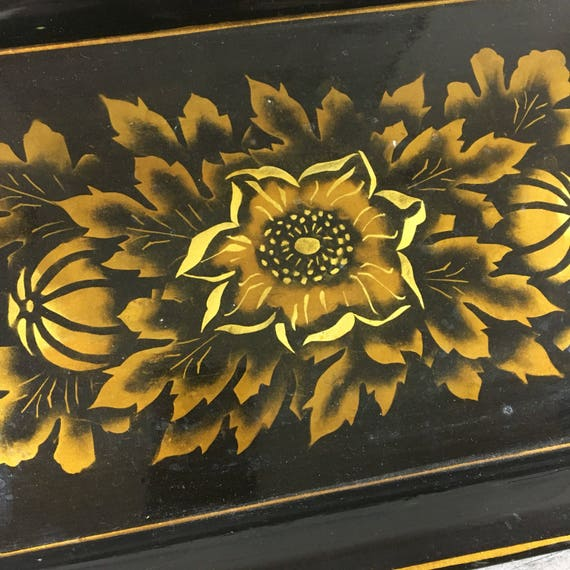 """Vintage Handpainted Tray 14"""" x 9"""" Black and Gold"""