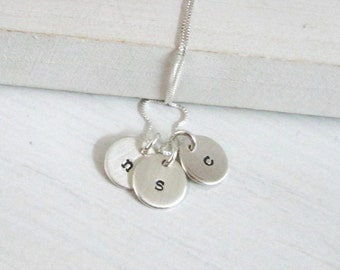 Tiny Initial Necklace ... Initial Jewelry ... Personalized Necklace ... Hand Stamped Jewelry... Mother's Necklace