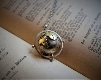 World globe necklace etsy world globe necklace handmadesterling silver world map pendantcompass necklacetravel necklace gumiabroncs Gallery