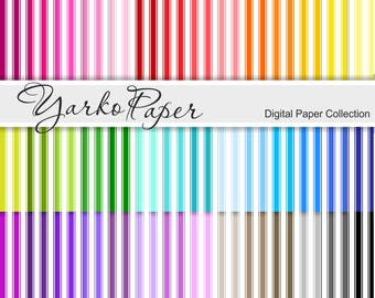 Digital Paper Pack, Stripes Scrapbook Paper, Digital Background, 42 Sheets, Rainbow Paper, Personal And Commercial Use - Instant Download