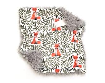 Lovey Fox and Leaves. Lovey. Fox Lovey. Woodland Lovey. Leaves Lovey. Mini Baby Blanket. Security Blanket. Lovie. Minky Lovey.