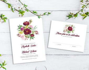 Floral Bunch Simple and Romantic Wedding Invitation