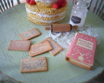Miniature Vintage Recipe Cards Set of 12 for Dollhouse 1/12 Scale