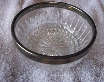 "Vintage English Cut Glass Bowl 4 1/2"" Dia 2 1/2 Tall w Sheffield Spoon CL23-34"