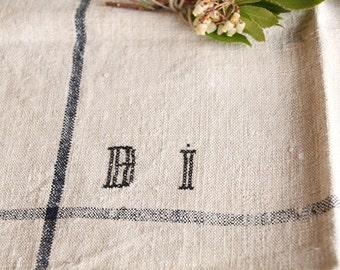 D 134:  handloomed linen antique charming TOWEL napkin LAUNDERED EASTER Spring decoration 리넨