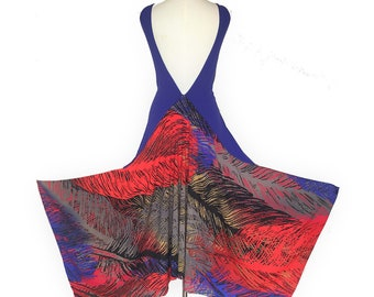 Backless Argentine tango top in blue feather. Open back, high low crop top for dancing. Deep V back blouse wedding guest. Burning man wear