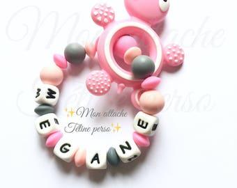"Custom silicone teething rattle ~ model turtle pink ""Megan"""