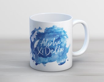 AXiD Alpha Xi Delta Watercolor Script Sorority Coffee Mug