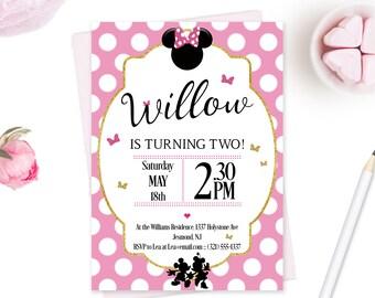 Minnie Mouse Birthday Invitation Minnie Mouse Invitation