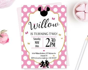 Minnie Mouse Birthday Invitation - Minnie Mouse Invitation - Minnie Mouse Invite - Minnie Mouse Birthday Invite - Pink