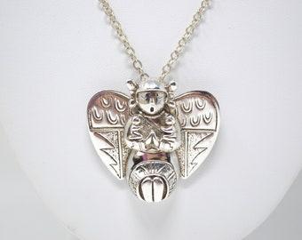 Vintage Southwest Designer Carol Felley Guardian Angel Storyteller Pendant Pin - 592103324