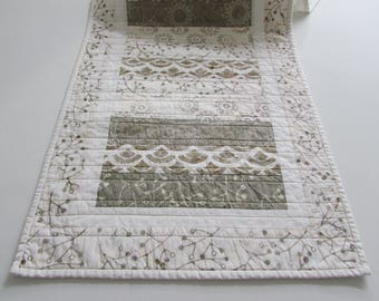 Quilted Batik Print Table Runner -  this winter white and beige transition pattern creates a truly unique accent for your table